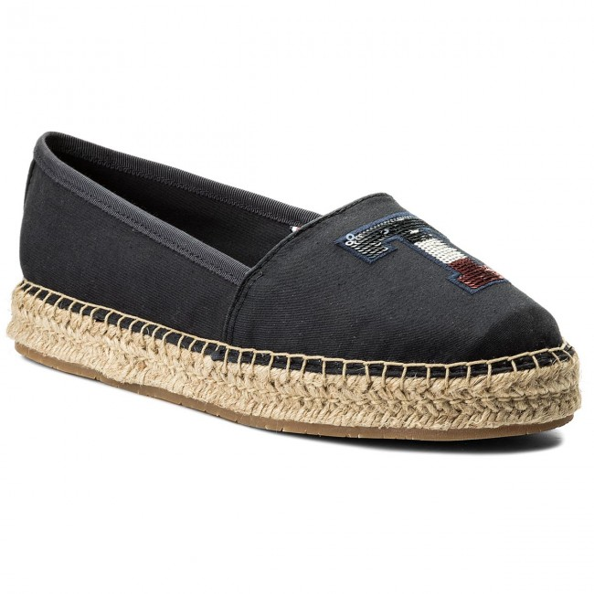 Espadrilles TOMMY HILFIGER                                                    Th Sequins Espadrille FW0FW02412 Midnight 403