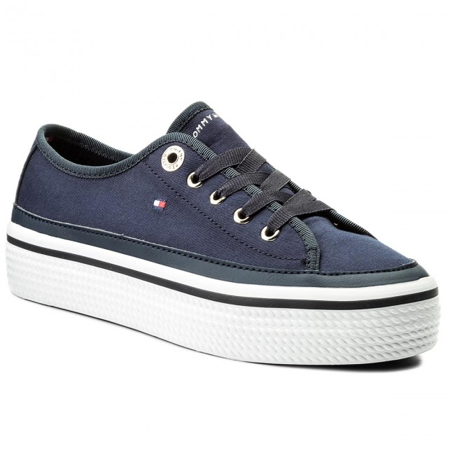 Turnschuhe TOMMY HILFIGER                                                    Corporate Flatform Sneaker FW0FW02456 Tommy Navy 406