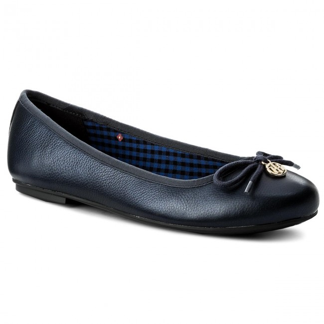 Ballerinas TOMMY Charm HILFIGER-Basic Metallic Balerina Charm TOMMY FW0FW02647 Tommy Navy 406 Werbe Schuhe 1115a1