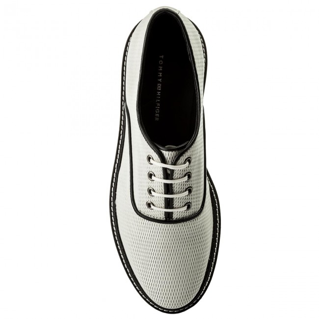 Oxfords TOMMY HILFIGER-Sporty Perf Lace Up 121 FW0FW02725  Whisper White 121 Up Werbe Schuhe 69d9d1