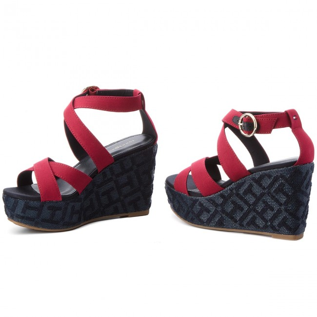 Sandalen TOMMY  HILFIGER     TOMMY                                                Th Pattern Wedge Sandale FW0FW02800 Scooter ROT 614 8e09c8
