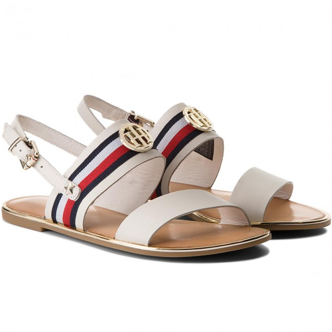 Sandalen TOMMY HILFIGER                                                    Corporate Ribbon Flat Sandal FW0FW02811 Whisper White 121
