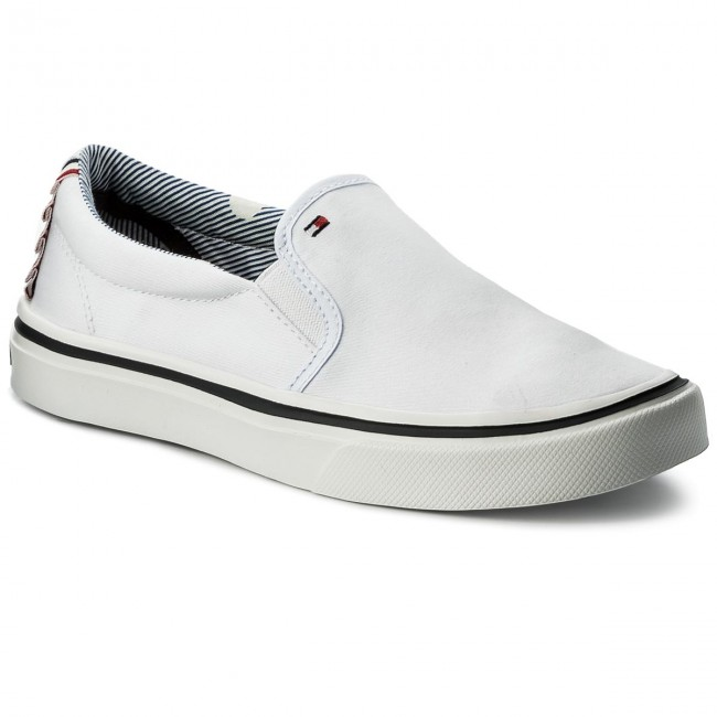 Turnschuhe TOMMY HILFIGER Textile Light Weight Slip On FW0FW02812 White 100