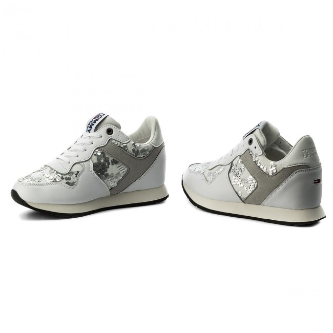 Sneakers TOMMY White JEANS-Tj Wedge Sequin Sneaker FW0FW03301 White TOMMY 100 Werbe Schuhe 6862f3