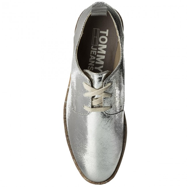 Oxfords TOMMY Shoe JEANS Metallic Platform Lace Up Shoe TOMMY EN0EN00207 Silver 000 6be778