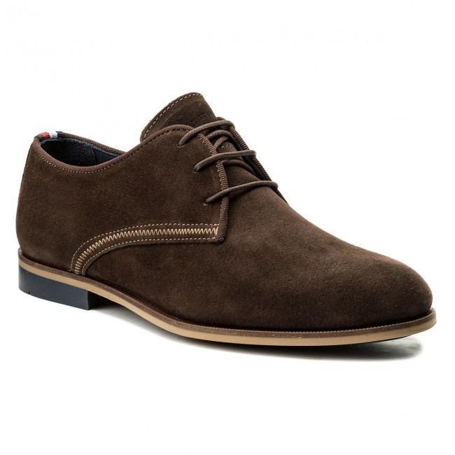 Halbschuhe TOMMY HILFIGER-Casual Dressy Suede Lace Up FM0FM00583  Coffe Bean 212
