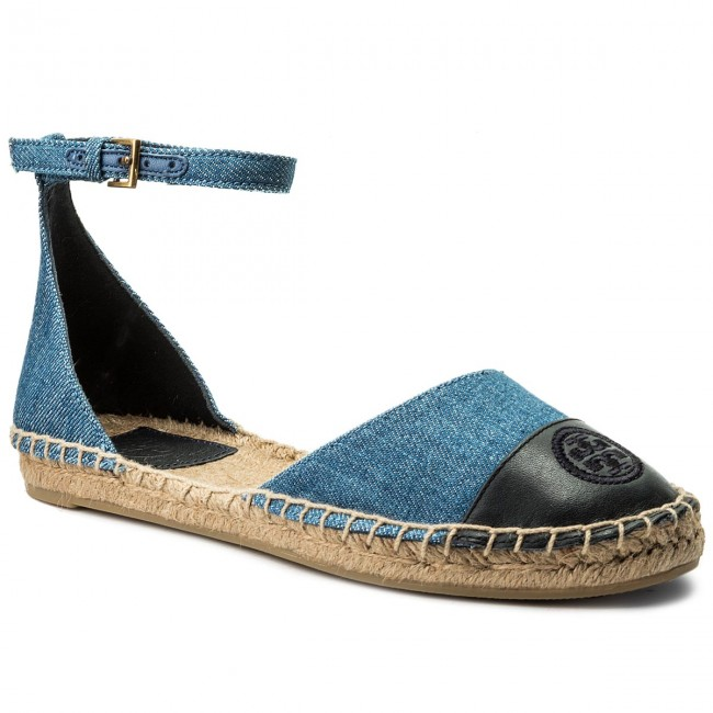 Espadrilles TORY BURCH-Color Block Ankle-Strap Espadrille 46769 Denim Chambray/Perfect Navy 435 Werbe Schuhe