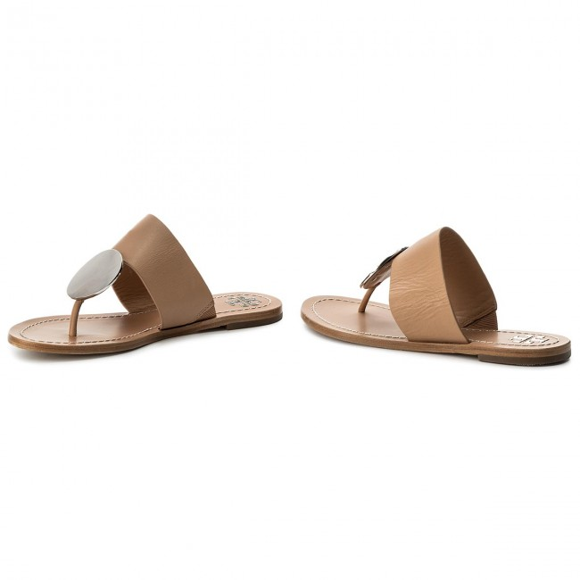 Zehentrenner TORY BURCH                                                      Patos Disk Sandale 46914 Natural Vachetta/Silver 261 2bacd7