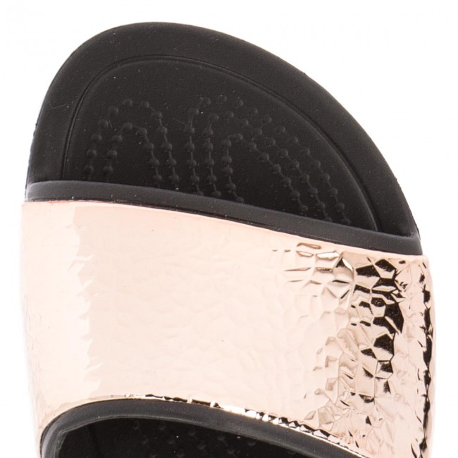 Pantoletten CROCS - Sloane Hammered 205135 Black/Rose Gold WjJ42j6