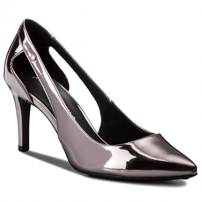 High Heels TOMMY HILFIGER                                                    Mirror Metallic Cut Out Pump FW0FW02972  Black 990