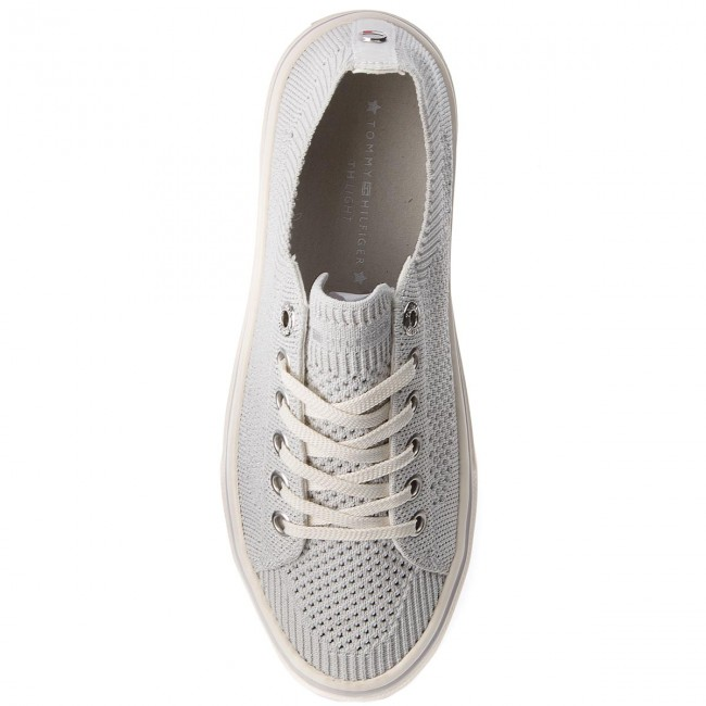 Turnschuhe TOMMY HILFIGER                                                      Knitted Light Weight Lace Up FW0FW03362 Weiß 100 585b99