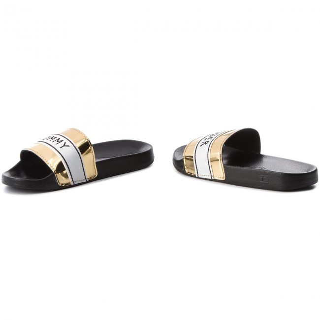 Pantoletten TOMMY HILFIGER                                                      Mirror Metal Beach Slide FW0FW03405  Light Gold 708 4c4c7f