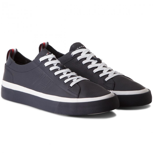 Sneakers TOMMY Sneaker HILFIGER-Unlined Low Cut Leather Sneaker TOMMY FM0FM01627 Midnight 403 1f9f11