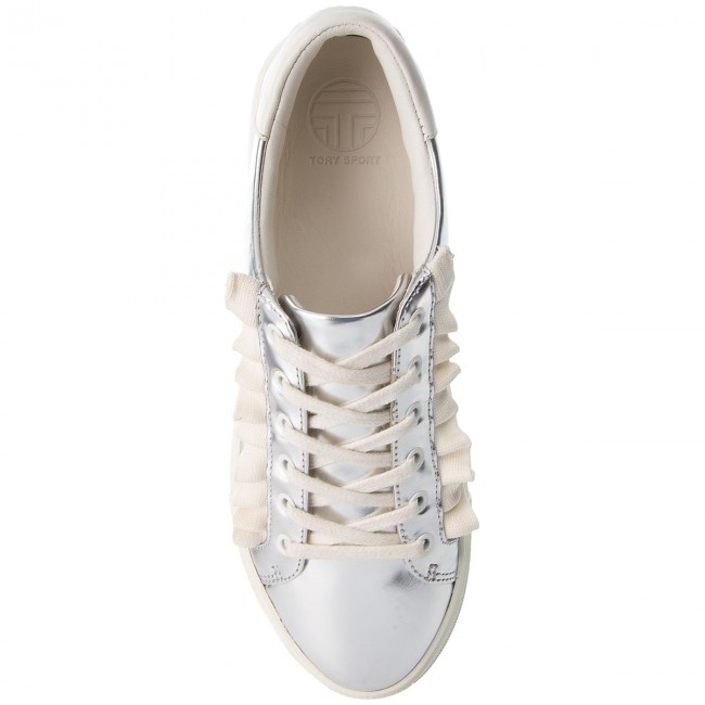 Sneakers TORY BURCH                                                      Ruffle Metallic Sneaker 50107 Silver/Perfect Ivory/Perfect Ivory 971 16cdae