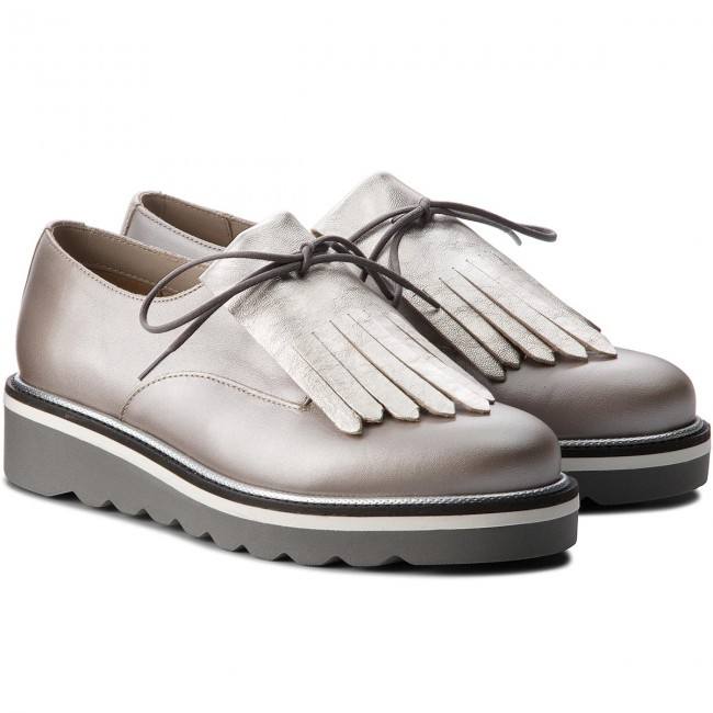 Oxfords TOMMY HILFIGER                                                      Pearlized Leder Lace Up Schuhe FW0FW02937 Moonbeam 009 484983