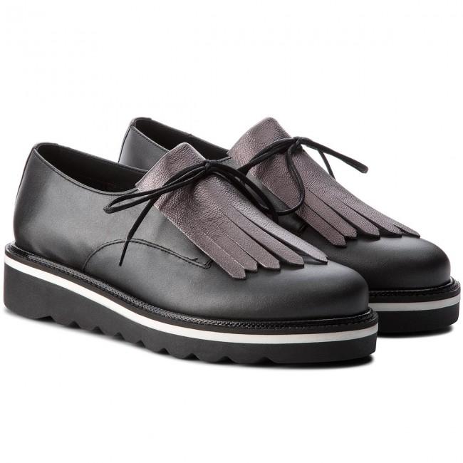 Oxfords TOMMY  HILFIGER     TOMMY                                                Pearlized Leder Lace Up Schuhe FW0FW02937 schwarz 990 84ea7a