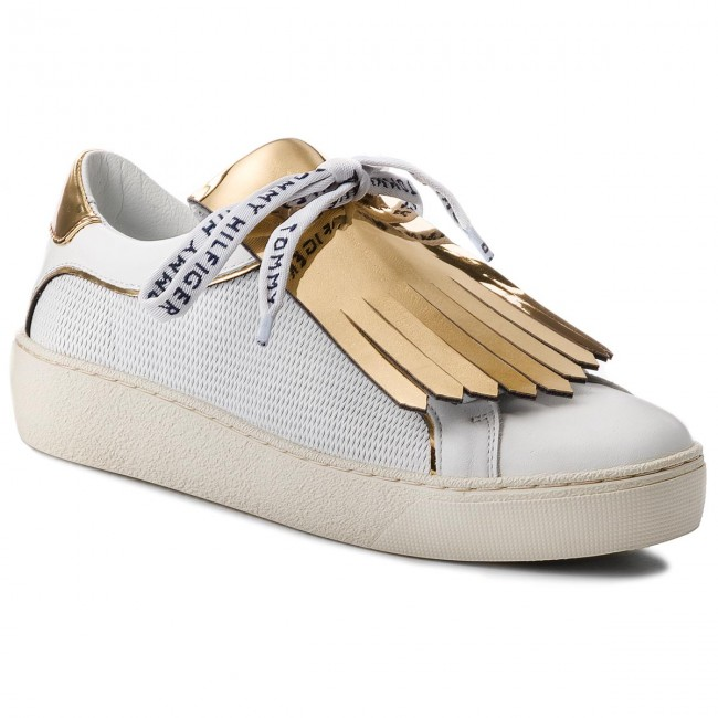 Sneakers TOMMY HILFIGER-Playful Leather 100 Iconic Sneaker FW0FW02978 White 100 Leather Werbe Schuhe 01903a