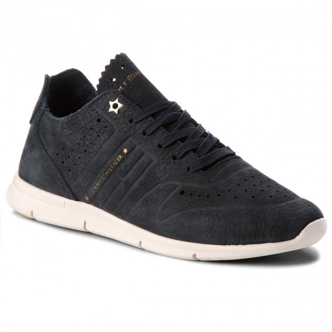 Sneakers TOMMY HILFIGER-Nubuck Light Weight Sneaker FW0FW02986  Midnight 403 Werbe Schuhe