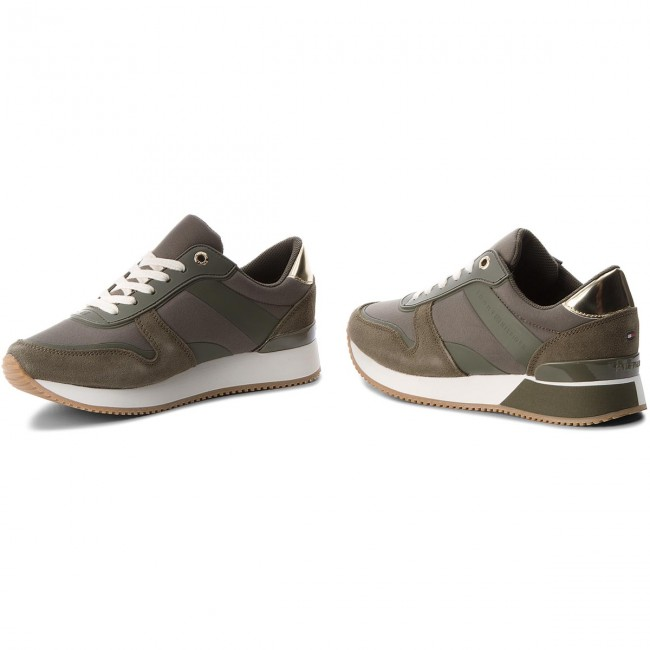 Sneakers  TOMMY HILFIGER    Sneakers                                                 Mixed Material Lifestyle Sneaker FW0FW03011 Dusty Olive 011 5e3f90