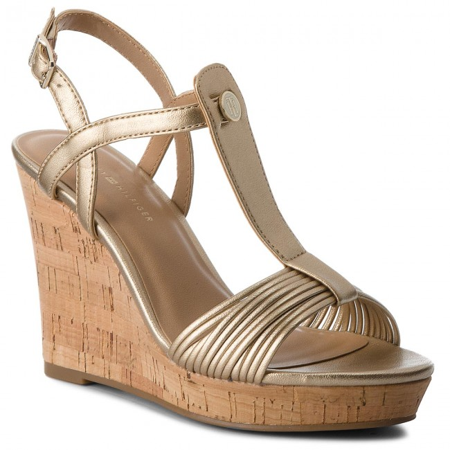 Sandalen  TOMMY HILFIGER    Sandalen                                                 Refined Strappy Wedge Sandale FW0FW03369 Light Gold 708 db8462