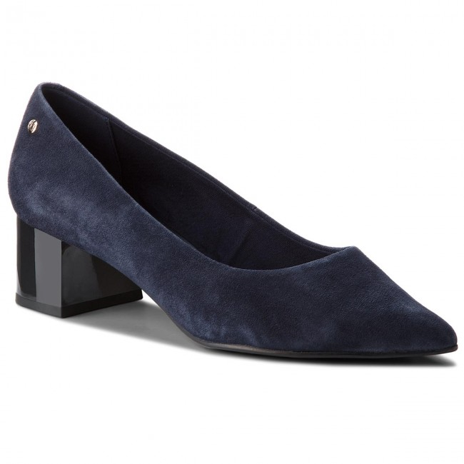 Halbschuhe TOMMY HILFIGER                                                      Elevated Suede Mid Heel Pump FW0FW03390  Tommy Navy 406 62c0e8
