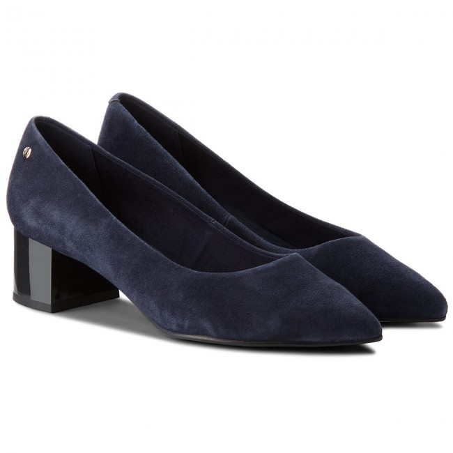 Halbschuhe TOMMY HILFIGER                                                      Elevated Suede Mid Heel Pump FW0FW03390  Tommy Navy 406 c1fb4b