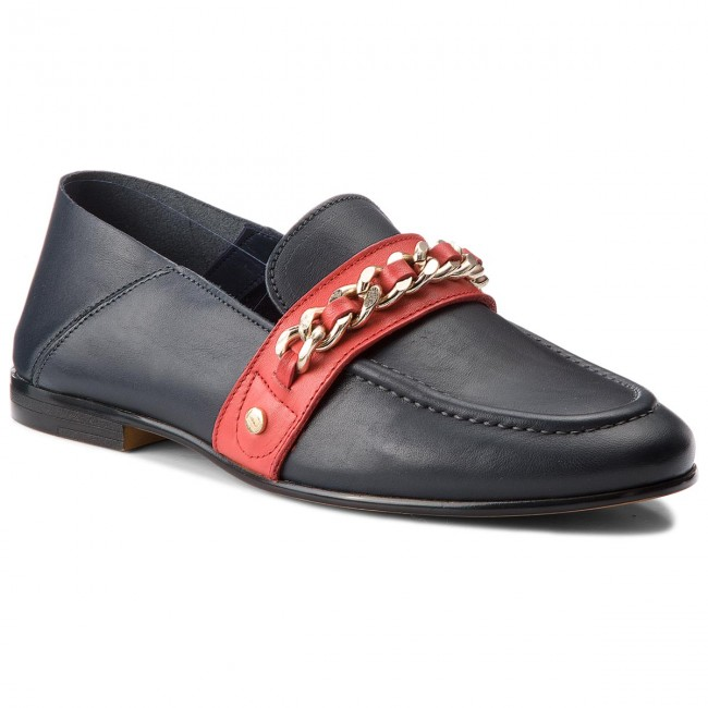Halbschuhe TOMMY HILFIGER-Chain Detail Corporate Loafer FW0FW03396  Tommy Navy 406 Werbe Schuhe