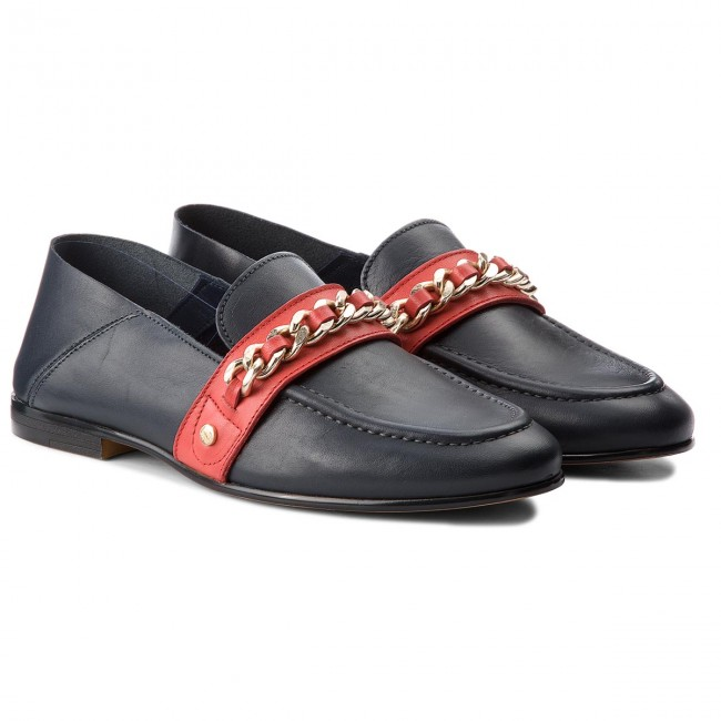 Halbschuhe TOMMY HILFIGER                                                      Chain Detail Corporate Loafer FW0FW03396  Tommy Navy 406 c5b313