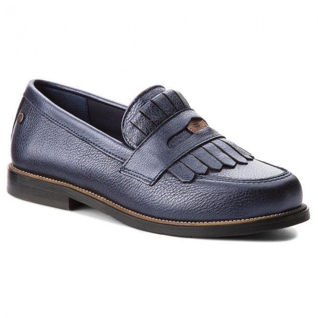 Halbschuhe TOMMY HILFIGER Metallic Leather Penny Loafer FW0FW03402 Tommy Navy 406