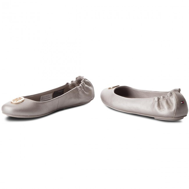 Ballerinas TOMMY HILFIGER - Pearlized Leather Ballerina FW0FW03412 Moonbeam 009 VGViVvv