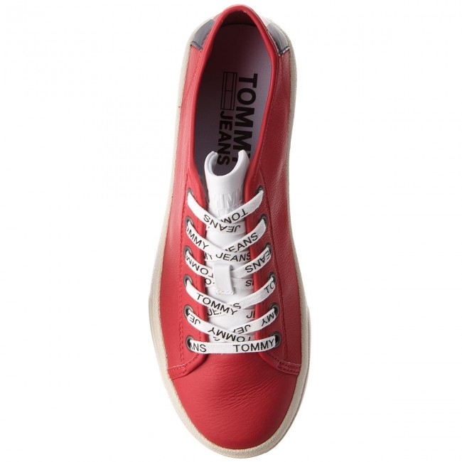 Sneakers TOMMY JEANS-Light Leather Red Low EM0EM00103 Tommy Red Leather 645 16b89c