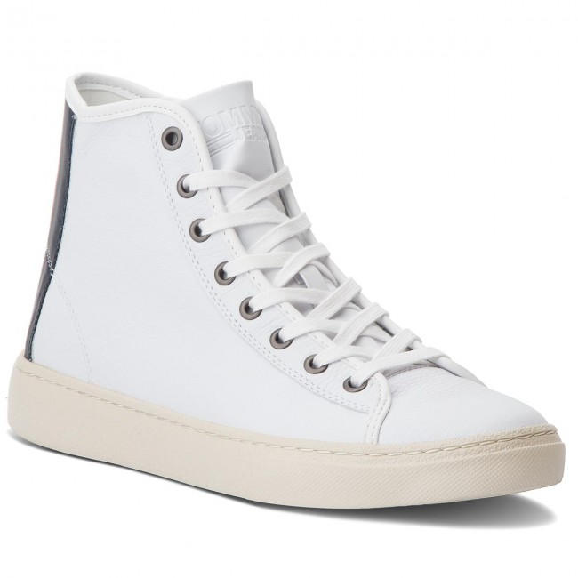 Sneakers TOMMY JEANS-Light EM0EM00104 Leder Mid EM0EM00104 JEANS-Light Weiß 100 869db1