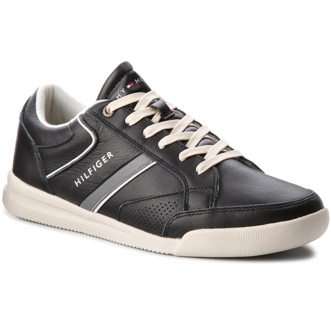 Sneakers TOMMY HILFIGER-Corporate Detail Leather Sneaker FM0FM01620 Black 990