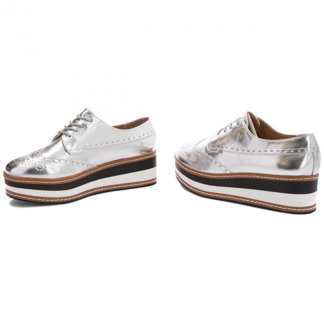 Oxfords STEVE  MADDEN     STEVE                                                Greco Platform Lace-up 91001099-07004-14001 Silver 86506e