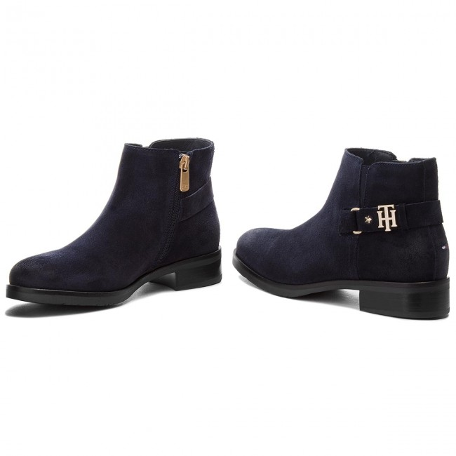 Stiefeletten TOMMY HILFIGER                                                      Th Buckle Suede Boot FW0FW03129 Midnight 403 24826a
