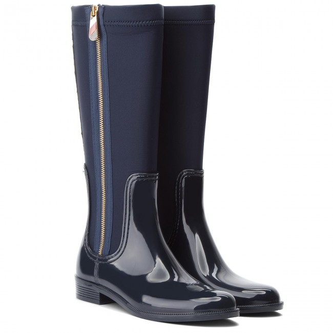Gummistiefel TOMMY HILFIGER                                                      Material Mix Long Ra FW0FW03564  Midnight 403 a9827e