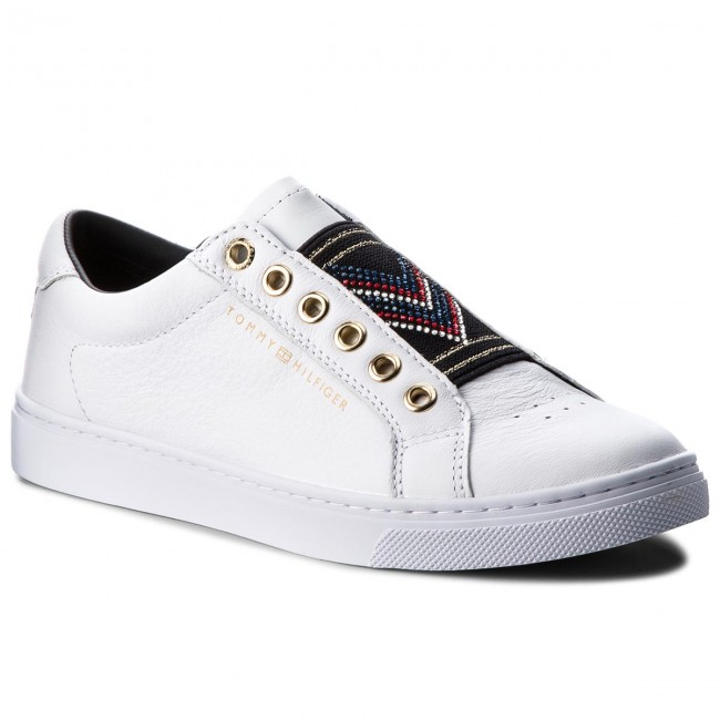 Sneakers TOMMY HILFIGER                                                    Stud Elastic Essential Sneaker FW0FW03592 White 100
