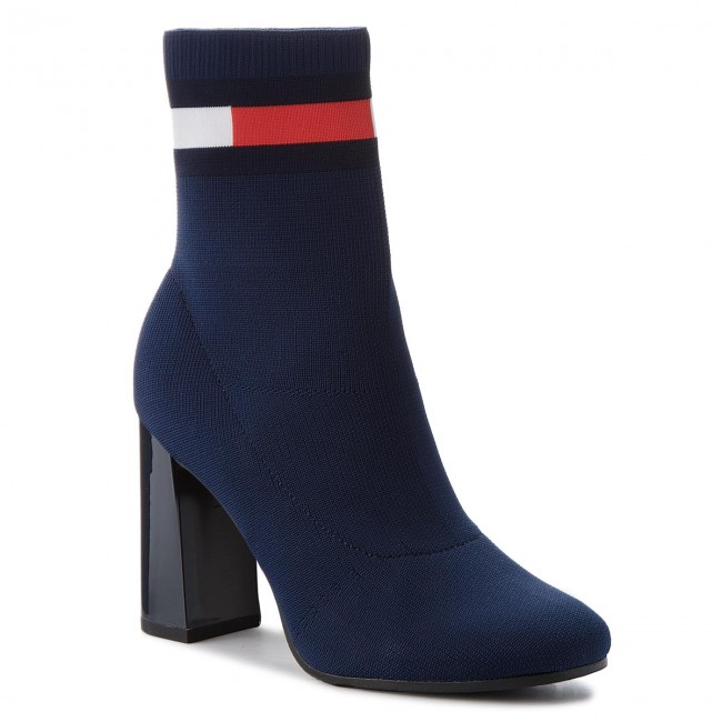 Stiefeletten TOMMY JEANS                                                    Sock Heeled Boot EN0EN00277 Navy 406