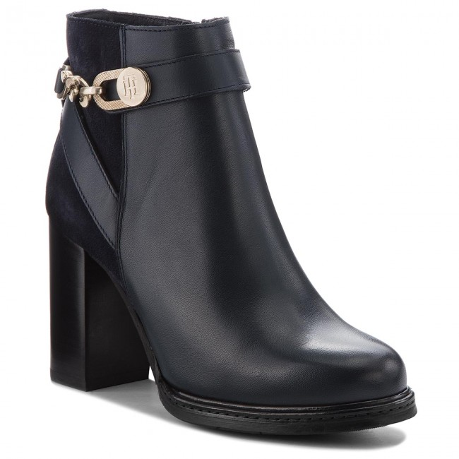 Stiefeletten TOMMY HILFIGER                                                      Th Chain Heeled Boot FW0FW03449 Midnight 403 c04d1d