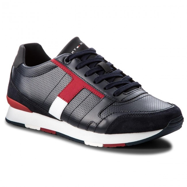 Sneakers TOMMY HILFIGER-Corporate Leather Mix Sneaker  FM0FM01899 Midnight 403