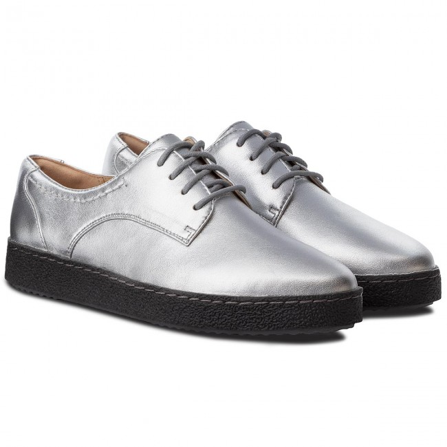 Halbschuhe CLARKS Leather Lillia Lola 261364624 Silver Leather CLARKS e7644e