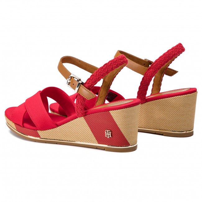 6327a6a37 Sandalen TOMMY HILFIGER - Printed Mid Wedge Sandal FW0FW03933 Tango Red 611