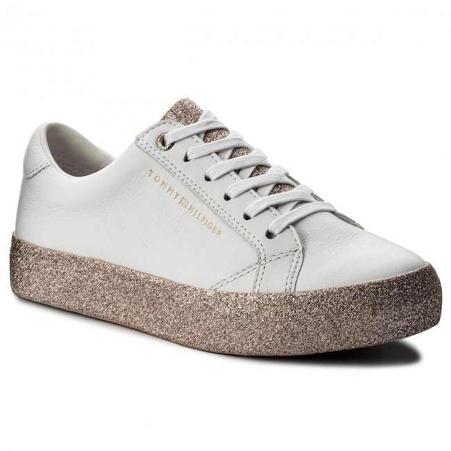ba659c9a66cf62 Sneakers TOMMY HILFIGER - Sparkle Outsole Glitter Sneaker FW0FW02798  White/Pink 100
