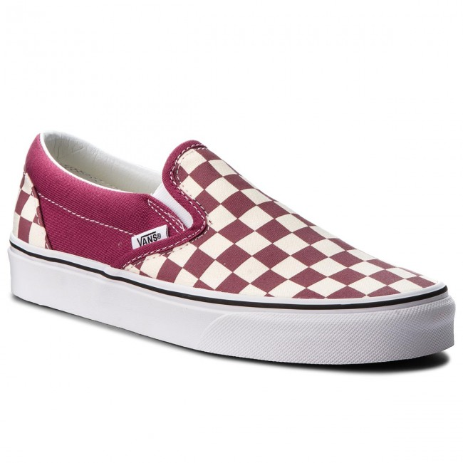Turnschuhe VANS - Classic Slip-On VN0A38F7U7A (Checkerboard) Dry Rose/W