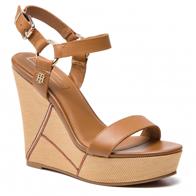 Sandalen TOMMY HILFIGER Elevated Leather Wedge Sandal FW0FW03943 Summer Cognac 929
