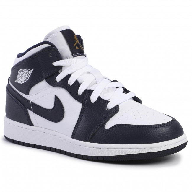 Schuhe NIKE Air Jordan 1 Mid (Gs) 554725 174 WhiteMetallic GoldObsidian