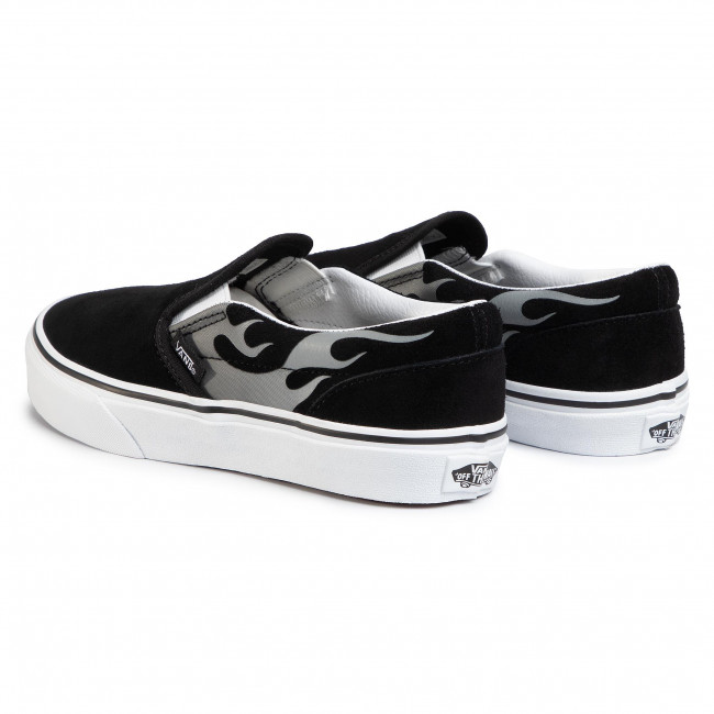 Turnschuhe VANS Classic Slip On VN0A4UH8WKJ1 (Suede Flame) BlkTr Wht