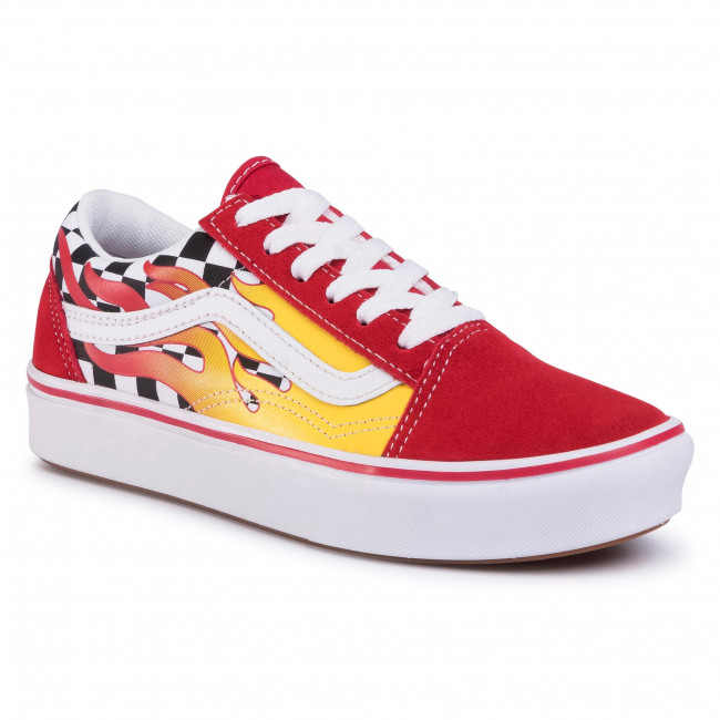 Turnschuhe VANS - Comfycush Old Sko (Flame) Checkerboard/Red