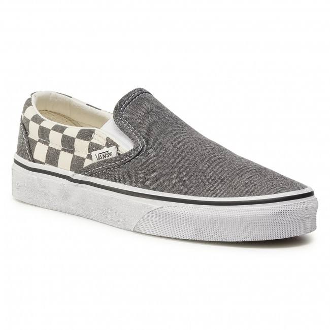 Turnschuhe VANS - Classic Slip-On VN0A4U38HQE1 (Washed) Asphalt/True Wht