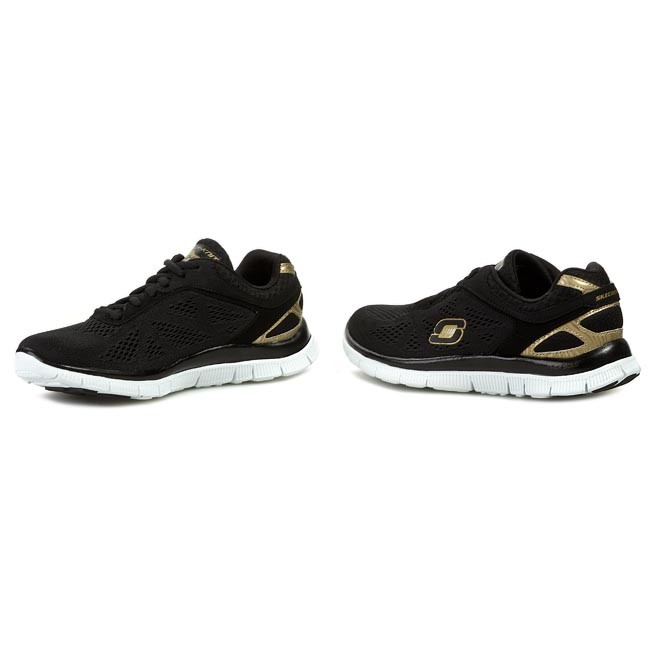 Skechers Love Your Style Schwarz Gold Damen Sneakers Rabatt